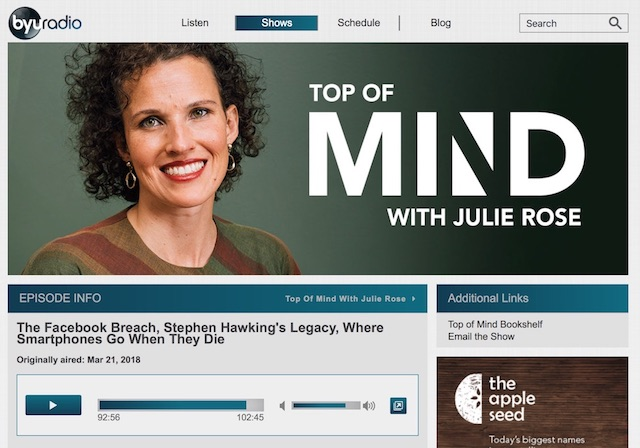 My interview with the Top of Mind radio show