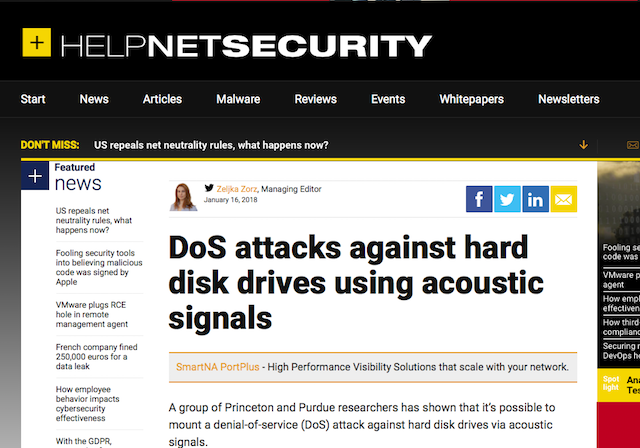 HelpNetSecurity's coverag of our HDD acoustic attacks study