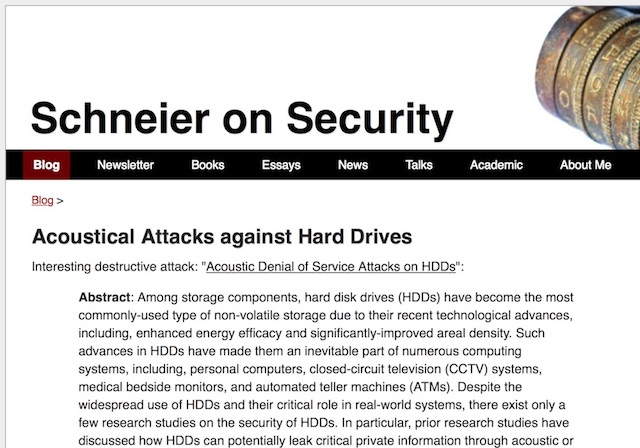 The coverag of our HDD acoustic attacks study by Schneier on Security blog